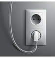 Electric white plug and socket on grey wall vector image