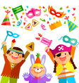 Purim elements and kids vector image vector image