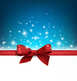Christmas blue background with gift bow vector image