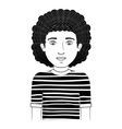 guy silhouette with wavy hair vector image