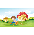 A kid and the mushrooms vector image