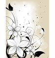 Floral spring background with flowers and swirls vector image