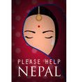nepal woman wear sari cry please help nepal poster vector image