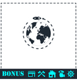 Planet with rocket icon flat vector image