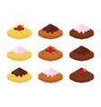 belgian waffles - chocolate cream and berries vector image