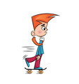 sad little boy on a skateboard vector image