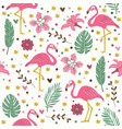 seamless flamingo pattern wallpaper background vector image