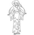 Caucasian Woman In Kimono Coloring Page vector image