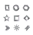 Black white grey logo elements set vector image
