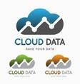 Cloud data technology logo concept vector image