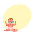 crying baby kid infant child in diaper front vector image