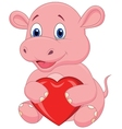 Hippo cartoon holding red heart vector image