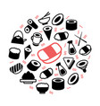 japanese food and sushi colored icons in vector image