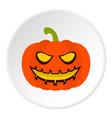 pumpkin lantern icon circle vector image