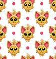 Seamless pattern with cartoon cat vector image