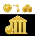 golden bank with money vector image vector image