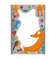 cute happy birthday border dog photo frame vector image