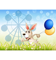 A bunny running in the garden with balloons vector image vector image
