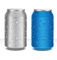 aluminum cans grey and blue with many water drops vector image vector image