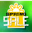 Spring Sale Theme with Sun Symbol on Green vector image