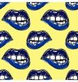 Sexy biting lips seamless pattern vector image