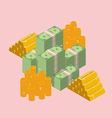 Pile of cash with gold ingots and coin vector image vector image