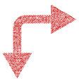 bifurcation arrow right down fabric textured icon vector image
