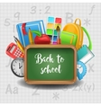 Chalkboard with Book Notepad and Supplies vector image