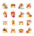 funny corgi dog cartoon icons set vector image