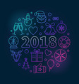 happy new 2018 year round colored vector image