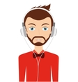 man with headphones isolated icon design vector image