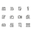 Media publishing simple line style icons vector image