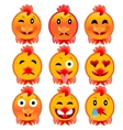 Set of cheerful cock emotions Icons to the fire vector image