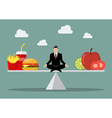 Man balancing between junk food and healthy food vector image