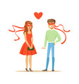young enamored man and woman blindfolded colorful vector image