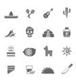 Mexican culture symbols black icons set vector image vector image