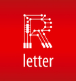 Abstract logo letter R in the form of a chip vector image vector image