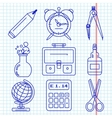 Black school goods icons Part 1 vector image