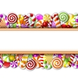 Sweet banner with colorful candies vector image