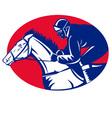 horse and jockey racing side view vector image