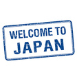 welcome to Japan blue grunge square stamp vector image