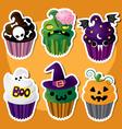 Cute Set of Halloween Cupcakes vector image