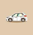white car hatchback side view transport for vector image