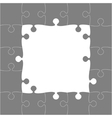 Grey Puzzles Pieces - JigSaw Frame - 25 vector image