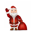 Santa with a bag of gifts waving his hand vector image