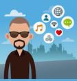 beard man with social media icons vector image