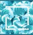 Sea blue water wave frame ocean border background vector image