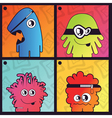Set of four monster on abstract background vector image vector image