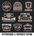 Set of fitness gym and sport club logo emblem vector image