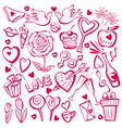 valentine day sketch set vector image